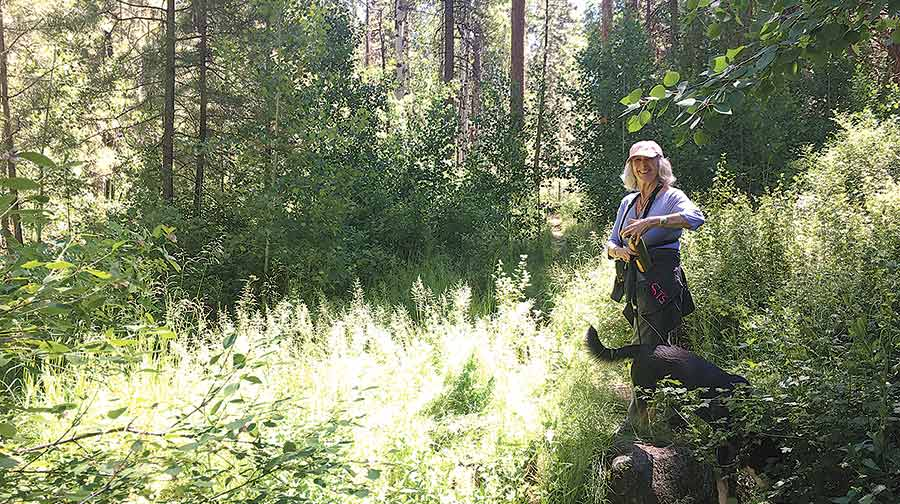 Educator and life coach Susan Prince scouts a riparian area near Sisters for a nature connection workshop. photo by TL Brown