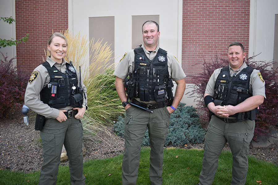 Deputies Allie DeMars, Mike Hudson, and Bryan Morris are working full time in Sisters under the City's new contract with the Deschutes County Sheriff's Office. photo provided